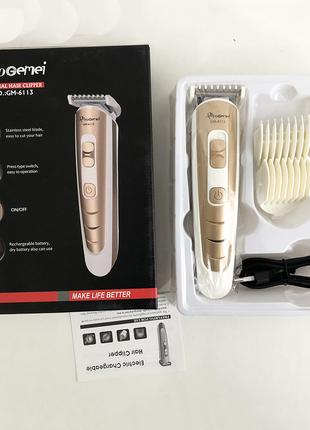 Машинка для стрижки волос Gemei GM-6113 аккумуляторная. Цвет: зол