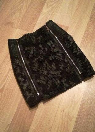 Шикарная юбка сеткой с кожаными вставками на молнии toxik3