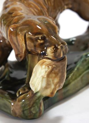 Статуэтка охотничий пес сеттер 31х15см с дичью уткой собака фаянс