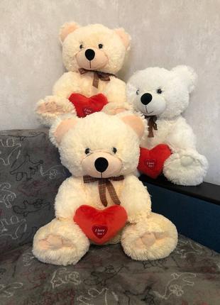 Мягкая игрушка плюшевый Мишка Love большой ведмедь с сердцем 55см