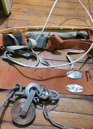 Пояс монтажный, страховочный с цепью и карабином для работ связан