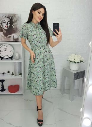 Платье миди оливка в мелкий цветок, летное платье