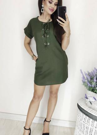Платье льняное цвета хаки, короткое платье!
