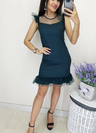 Платье цвета бутылка, короткое/мини платье