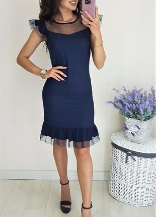 Платье синее, платье короткое/мини синее