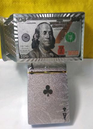Игральные карты пластиковые100 долларов
