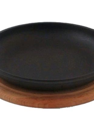 Сковорода-крышка чугунная Биол - 200 мм, с доской