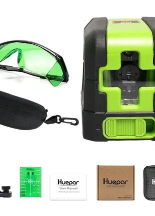 Лазерный нивелир зеленый луч Huepar HP-9011G уровень OSRAM + очки