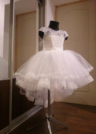 Нарядное детское платье пышное белое выпускное бальное вечерне...
