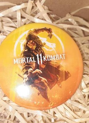Круглый значек значок mortal kombat 11 смертельная битва