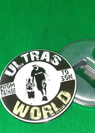 Круглая открывашка на магните ultras world ультрас