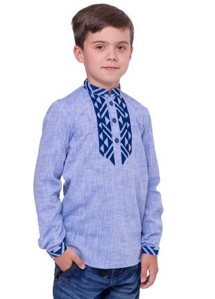 Вишиванка для хлопчика Всемил (льон блакитний)