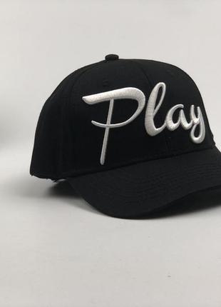 Черная кепка с надписью play бейсболка мужская женская