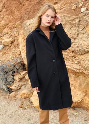 Черное пальто. кашемир и шерсть
