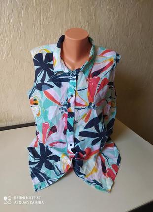 Рубашка, блузка, льон, большой размер 48 (56)
