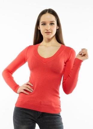 Пуловер женский с v образным вырезом