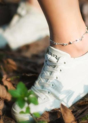 Серебряный браслет со звездочками и шариками на ногу на руку