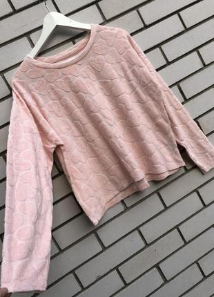 Розово-пудровая кофта в мягкие сердечки,свитшот, домашняя, хлопок