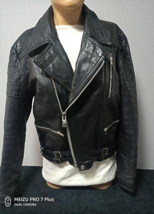 Крутая мужская куртка, косуха из натуральной кожи на синтепоне