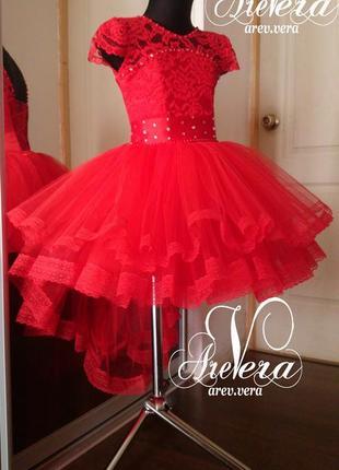Нарядное детское платье пышное красное выпускное вечернее тюльпан