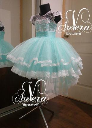 Нарядное детское платье пышное выпускное вечернее бирюза празд...
