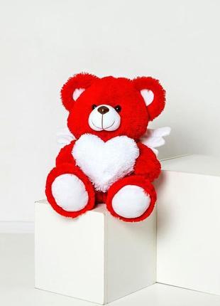 Плюшевый мишка с крылышками мягкий красный мишка ангел с серде...