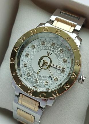 Женские наручные часы серебро-золото на браслете, дата