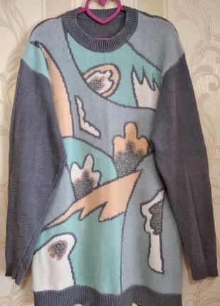 Теплая кофта пуловер свитер с ангорой