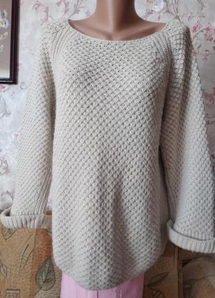 Теплая кофта пуловер с пуговицами на спине