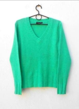 Осенний зимний теплый 35% ангоровый 10% шерстяной свитер с дли...