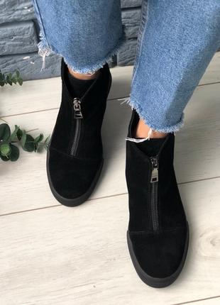 Женские замшевые черные ботиночки