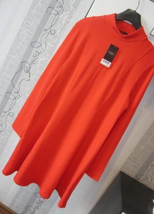 Новое теплое платье свинг коттон с начесом горло водолазка 16 ...