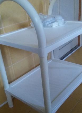 Столик сервировочный на колесиках белый и черный Турция.