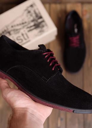 Замшевые натуральные Мужские туфли  VanKristi