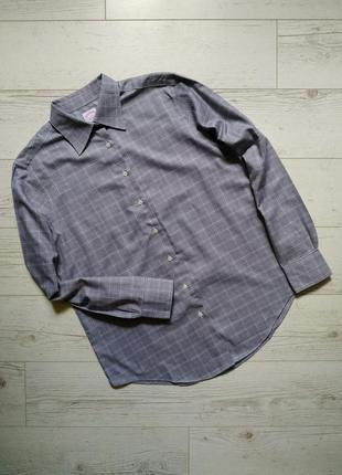 Рубашка  клетка/гусиная лапка brooks brothers р.14