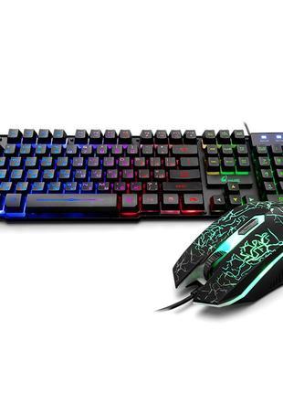 игровая английская русская клавиатура и мышь+Радужная подсветка