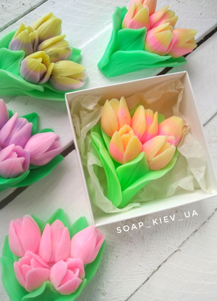 Мыло букет тюльпанов.Бюджетнвй подарок на 8 марта