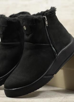 Натуральный нубук мужские зимние кожаные ботинки сапоги угги