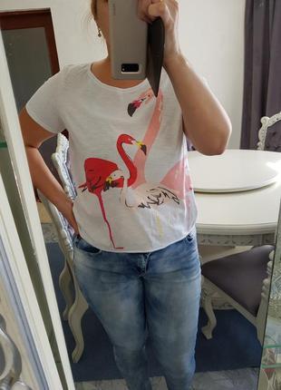 Стильная футболка esprit рисунок цапли