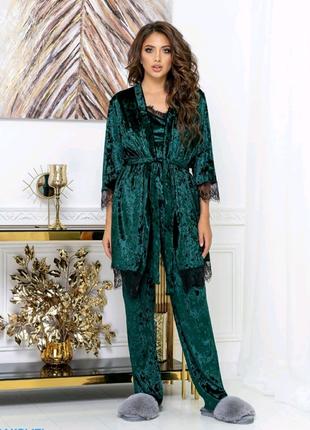 Комплект пижамы майка штаны халат домашняя одежда женская бархат