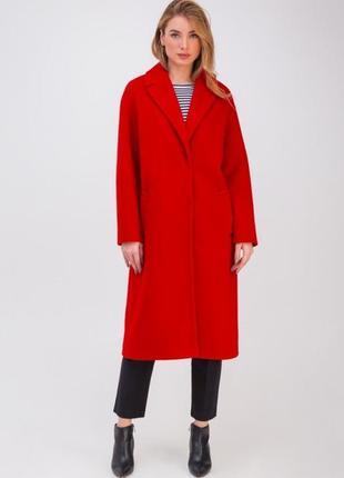 Классическое шерстяное пальто-халат красное, крус