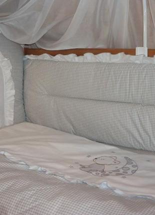 """Детское постельное белье в кроватку """"вышивка мишка"""""""