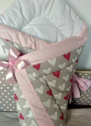 Конверт- одеяло зимнее на выписку новорожденного, плед в крова...