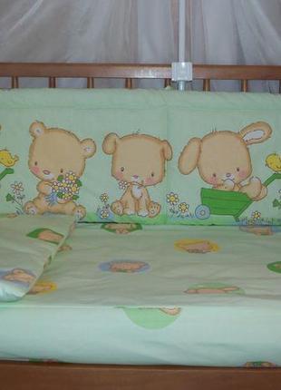 Детское постельное белье в кроватку новорожденного 3 ед.-мишка