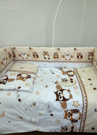 Детское постельное белье в кроватку новорожденного. бортики на...
