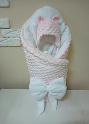 Конверт зимний и шапочка для новорожденного