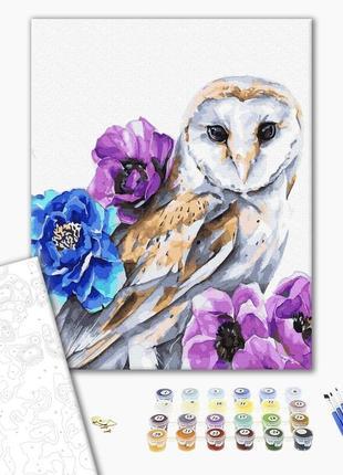 Набор для картины по номерам сова и цветы
