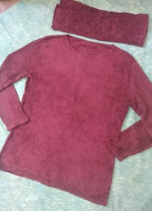 Базовая теплая кофта с начесом , пуловер с хомутом.