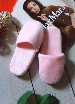 Красивые тапочки для дома нежно розового цвета