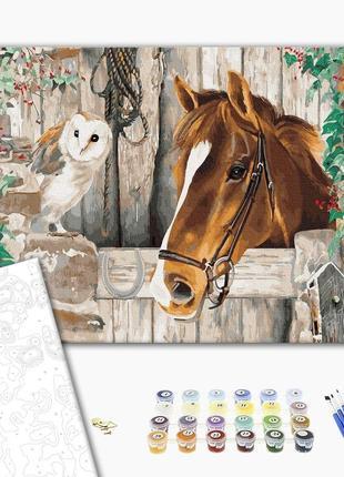 Картина по номерам набор сова и лошадь